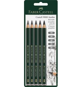 Faber-Castell - Castell 9000 Jumbo graphite pencil, set of 5