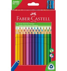 Faber-Castell - Jumbo Triangular Junior colour pencils, wallet of 30